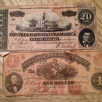 Confederate currency, and foreign old money