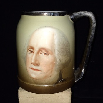 VINTAGE GEORGE WASHINGTON TANKARD PLATINUM HANDLE - Art Pottery