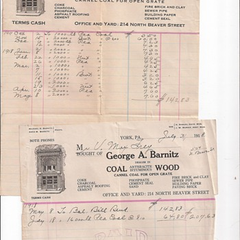 Coal Bills From 1913 &amp; 1918, Dry Cleaning From 1923 &amp; 1921, Auto Insurance From 1920 - Paper