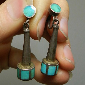 Unusual 1930's/40's Zuni Channel Inlay Earrings - Weird? - Native American