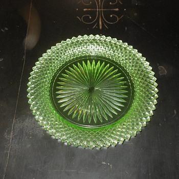 Miss America Green Bread Plates Depression Glass - Glassware