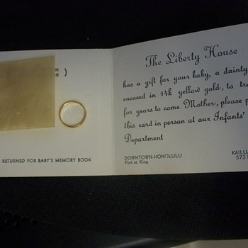 14K  Gold Baby Ring / Liberty House / Honolulu, Kailua / Gift Card - 1950s - Fine Jewelry