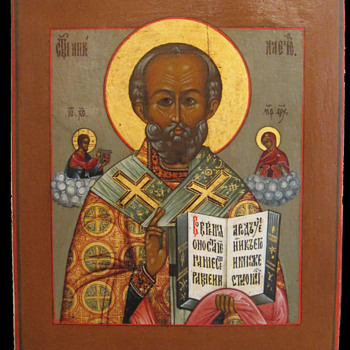 Fine Palekh Russian Icon of St. Nicholas c.1880 - Folk Art