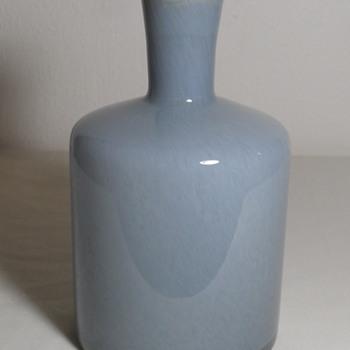 Grey Spatter Bottle Vase w/ Amber Lip - Art Glass