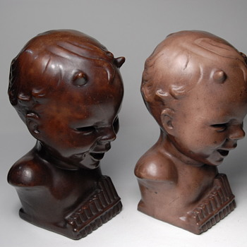FAN & CO COPYRIGHT 1912 PAN HEAD BOOKENDS