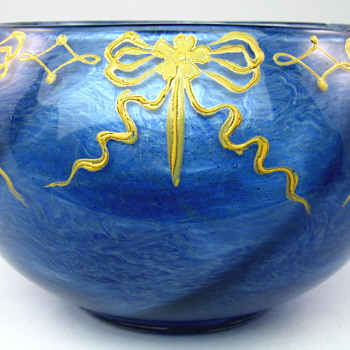 Loetz Blue Melusin Bowl with Applied Enamel Decoration - Art Glass