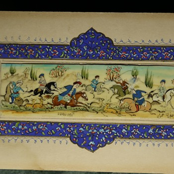 Persian Hunting Scene Painted on Bone - Visual Art