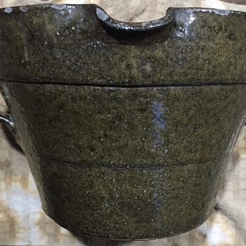 Dark Green Two Handle Crock Mixing Bowl With Pouring Spout - Art Pottery