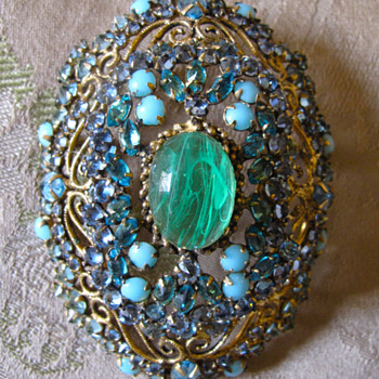 domed filigree pendant/brooch with emerald, aquamarine and turquoise stones - Fine Jewelry