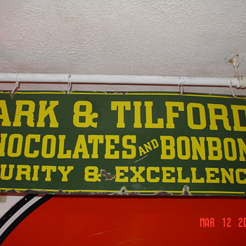 Park &amp; Tilford&#039;s Chocolates and Bonbons 1912... Porcelain Sign...Two Colors