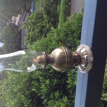 Very heavy brass oil lamp - Lamps