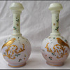 TRUE PAIR of HARRACH PHEASANT GUILDED VASES