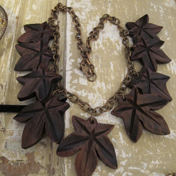 Old Brass and Wood Necklace