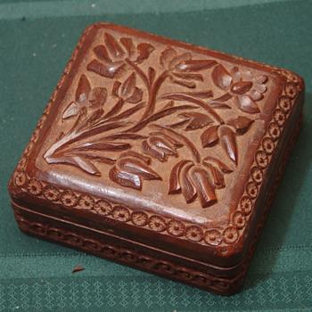 "Wooden box 5"" sq 3"" tall antique - Asian"