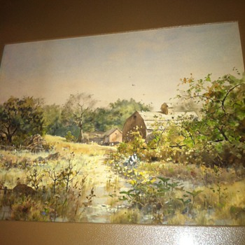 watercolor 1890s mystery signature landscape with woman in garden farm