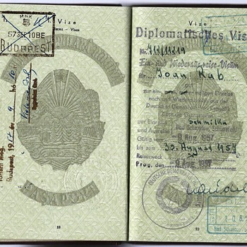 1957 DDR Diplomatic visa inside a passport