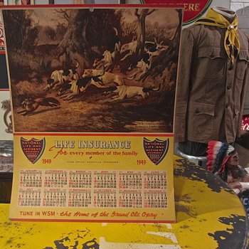 Old cardboard 1949 National INS. calendar sign - Advertising