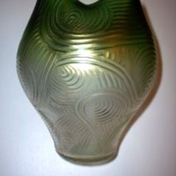 Loetz Green to Clear Spiraloptisch c. 1905 - Art Glass