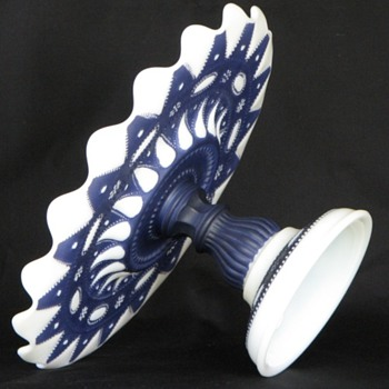 Lace Dew Drop - Milk Glass w/Cobalt Cake Stand; Phoenix Sculptured Artware, ca.1937 - Glassware