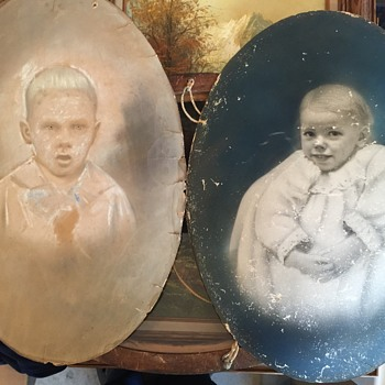Antique Oval Art and Photograph 1880's era