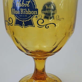 Pabst Blue Ribbon Amber Tinted Goblet  - Breweriana