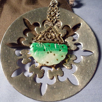 Jade white gold pendant silver madellion!!!!! - Fine Jewelry