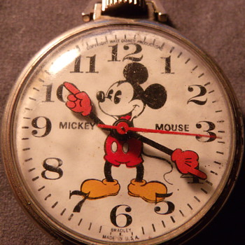 Mickey Mouse Pocket Watch  Bradley Time - Pocket Watches