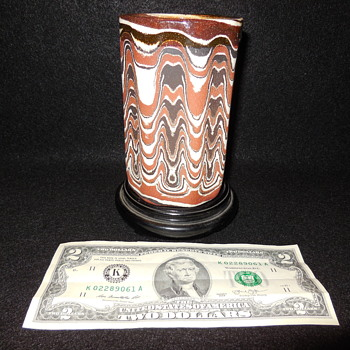 Red Canyon Ware Vase/Cup by Byron Seeley bottom mark Byron, From Concord, Ca. Antiques Fair