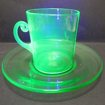 Uranium Glass Cup and Saucer