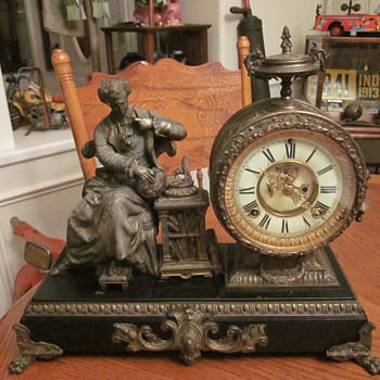 Antique Figural Clock Dated 1882 - Clocks