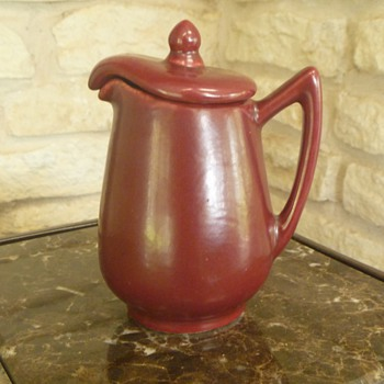 Unusual Pottery Syrup Pitcher - Maker???