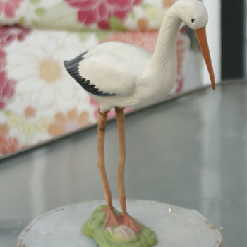 adorable paper mache stork - Figurines