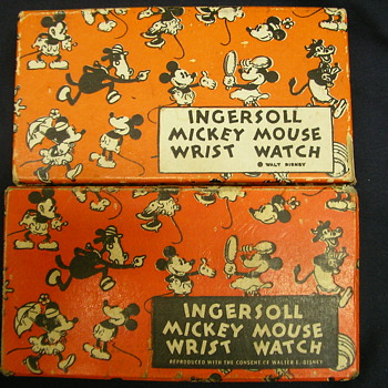 Mid 1930's Ingersoll Mickey Mouse Wristwatch Boxes - Wristwatches