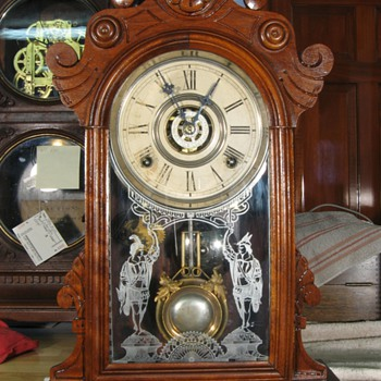 "Gilbert ""Parole"" Walnut Case 8-Day Shelf Clock, 1880s"