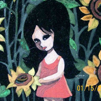 Retro painting on Velvet of wide eyed girl
