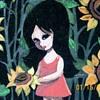 Retro painting on Velvet of wide eyed girl