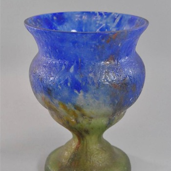 Czech:  Chipped Ice / Glue Chip Blue and Green Vase - Art Glass