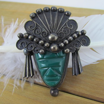 Vintage Aztec Figural Brooch Made of Sterling Silver - Fine Jewelry