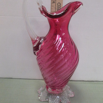 Swirled Footed Pitcher  - Art Glass