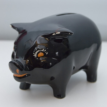 1930's Black Ceramic Piggy Bank