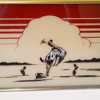Art Deco Cowboy Western Bar Tray - Art Deco
