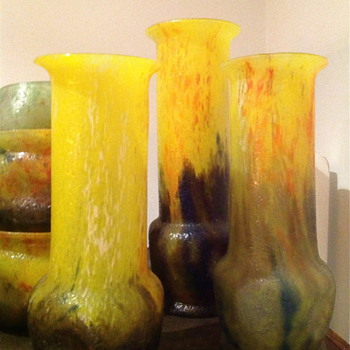 Czech : Chipped Ice / Glue Chip  Cylinder Vases - Art Glass