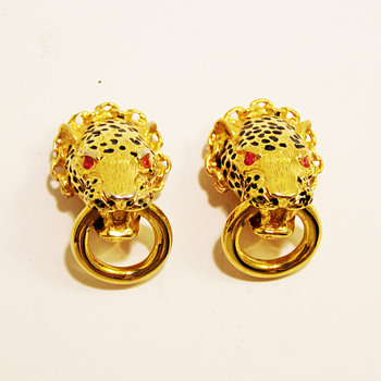 "Vintage Franklin Mint ""Duchess of Windsor"" Leopard Earrings - Costume Jewelry"