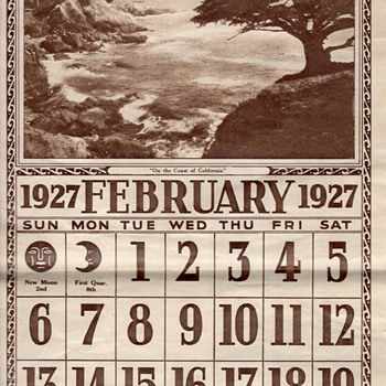 """ON THE COAST OF CALIFORNIA""1927 CALENDAR - Paper"