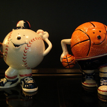 Baseball and basketball pottery coin bank
