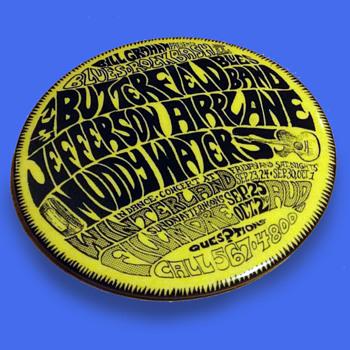 Original Vintage 1966 Winterland Fillmore Blues - Rock Bash II Badge - Medals Pins and Badges