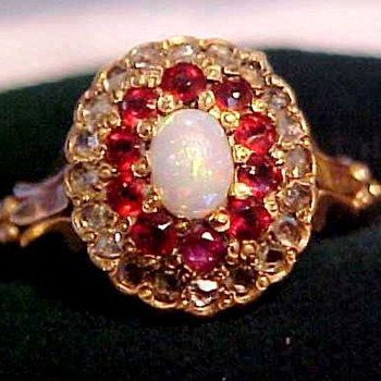Victorian Diamonds, Rubies, Opal Gold Ring