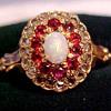 Victorian Diamonds, Rubies, Opal Gold Ring