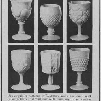 1950 Westmoreland Milkglass Advertisements - Advertising
