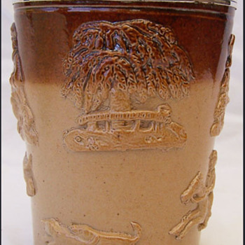 1873 SALTGLAZED HUNT/ HARVEST BEAKER 